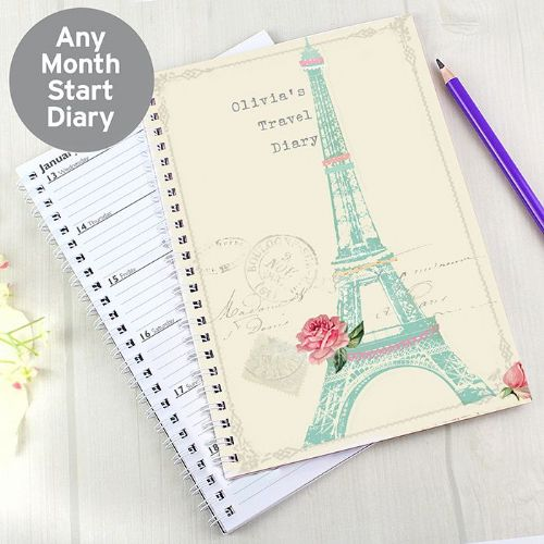 Personalised Eiffel Tower A5 Diary
